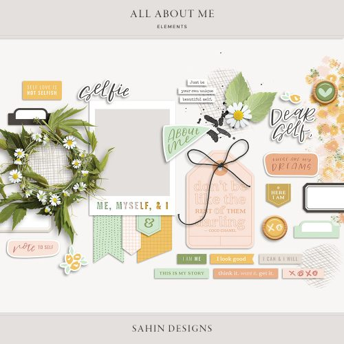 All About Me Digital Scrapbook Elements - Sahin Designs