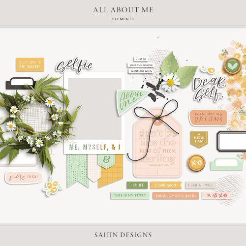 All About Me Digital Scrapbook Elements - Sahin Designs