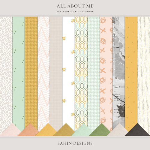 All About Me Digital Scrapbook Papers - Sahin Designs