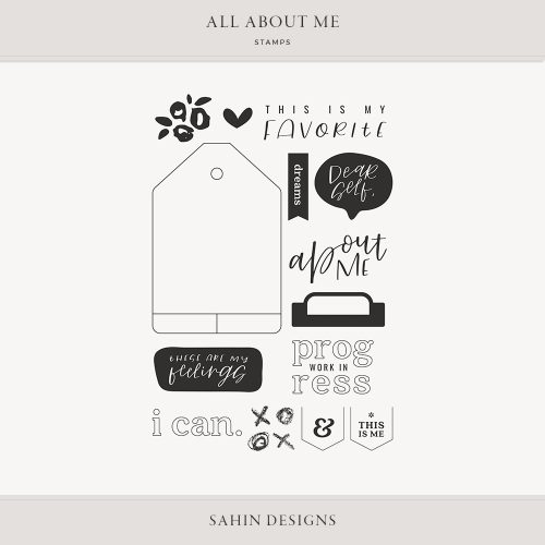 All About Me Digital Scrapbook Stamps - Sahin Designs