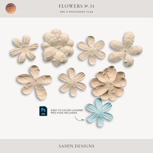 Extracted Paper Flowers - Sahin Designs - CU Digital Scrapbook