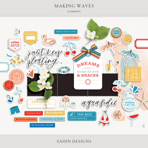 Making Waves Digital Scrapbook Elements - Sahin Designs