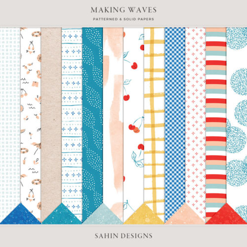 Making Waves Digital Scrapbook Papers - Sahin Designs