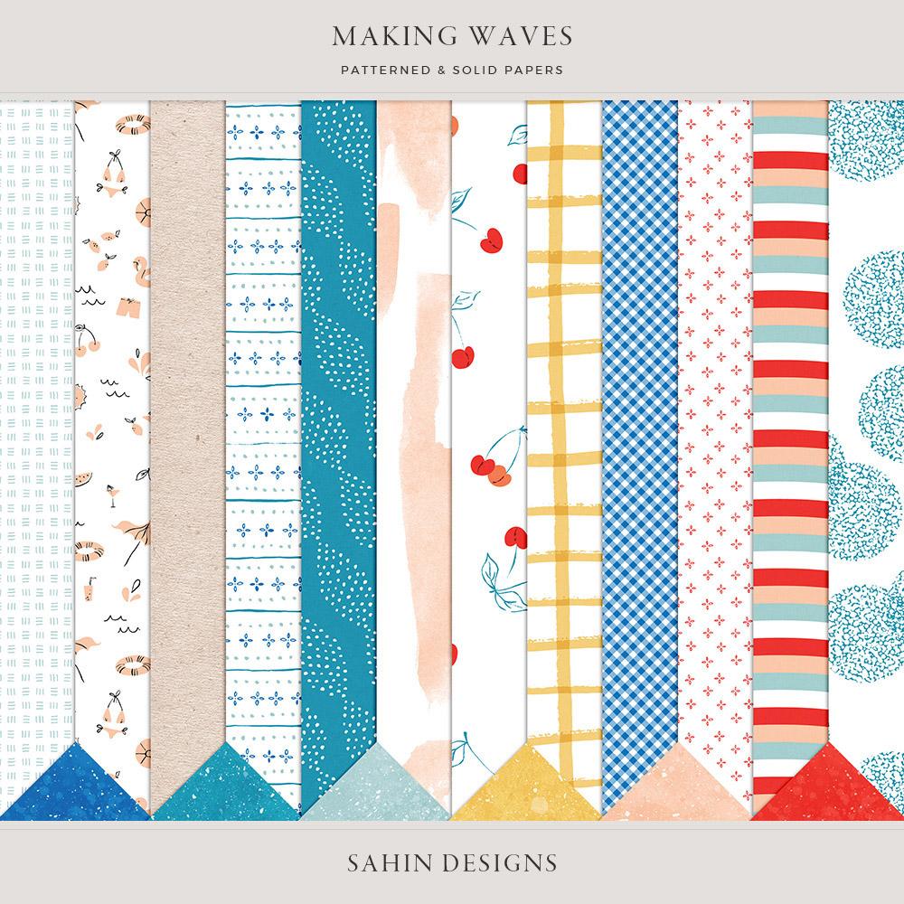 Making Waves Digital Scrapbook Papers - Sahin Designs