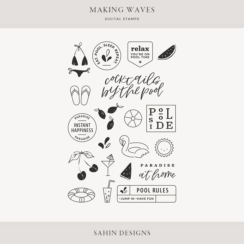 Making Waves Digital Scrapbook Stamps - Sahin Designs