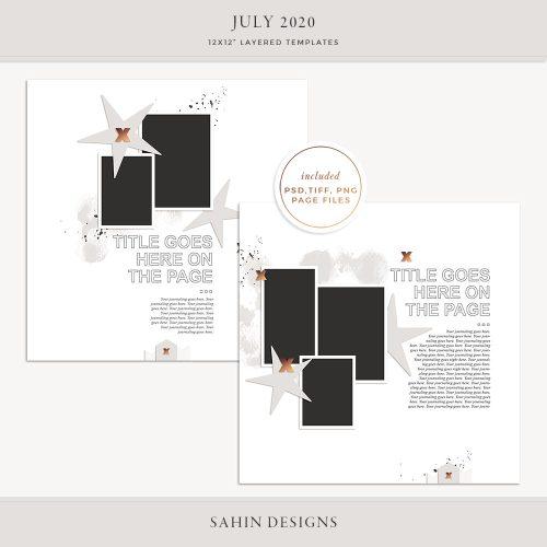 July 2020 Digital Scrapbook Layout Template/Sketch - Sahin Designs