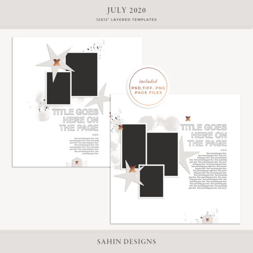 July 2020 Digital Scrapbook Layout Template/Sketch - Sahin Designs