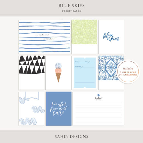 Blue Skies Printable Pocket Cards - Sahin Designs