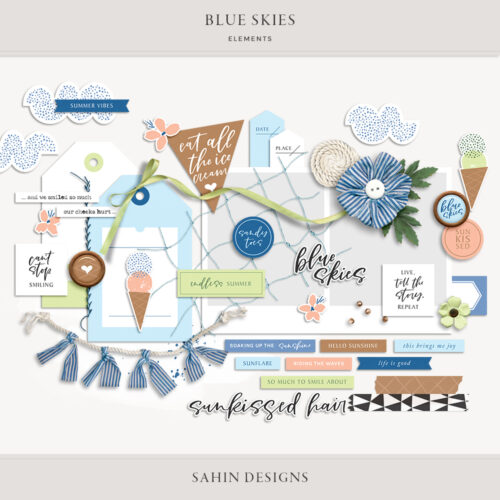 Blue Skies Digital Scrapbook Collection - Sahin Designs