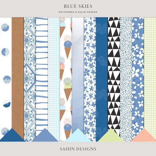 Blue Skies Digital Scrapbook Papers - Sahin Designs