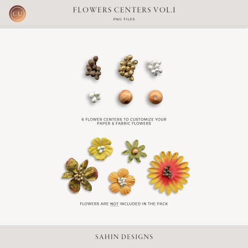 Extracted Flower Centers - Sahin Designs - CU Digital Scrapbook