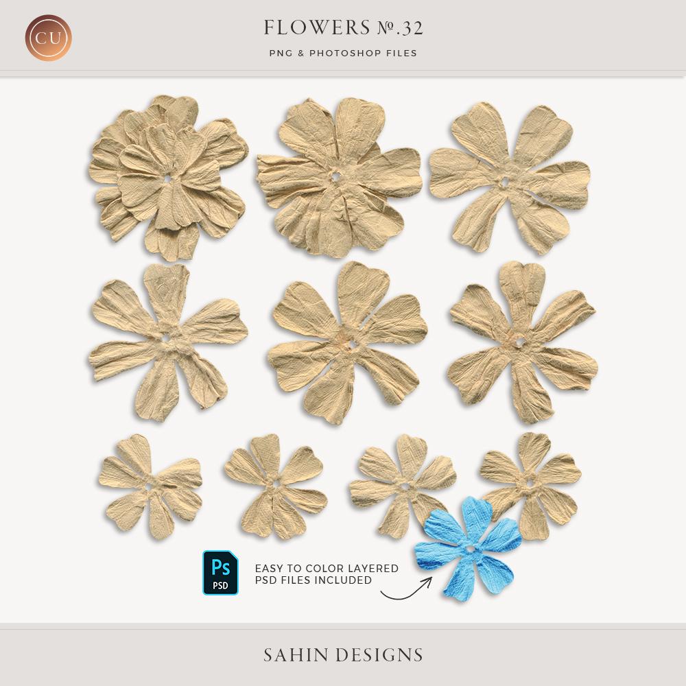 Extracted Wrinkled Paper Flowers - Sahin Designs - CU Digital Scrapbook