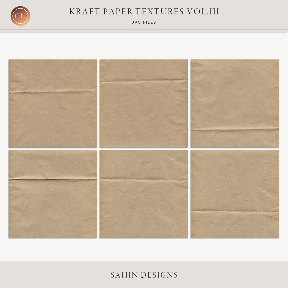Folded Kraft Paper Textures - Sahin Designs - CU Digital Scrapbook