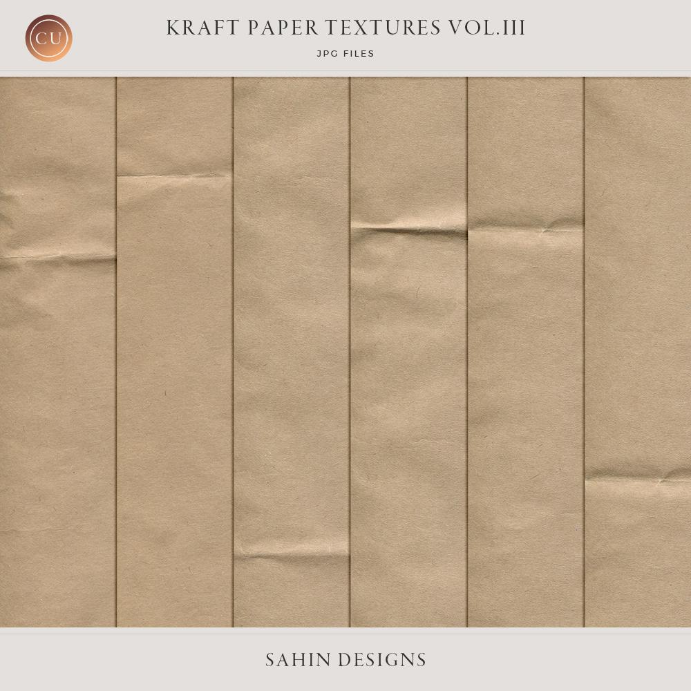 Folded Kraft Paper Textures - Sahin Designs - CU Digital Scrapbook