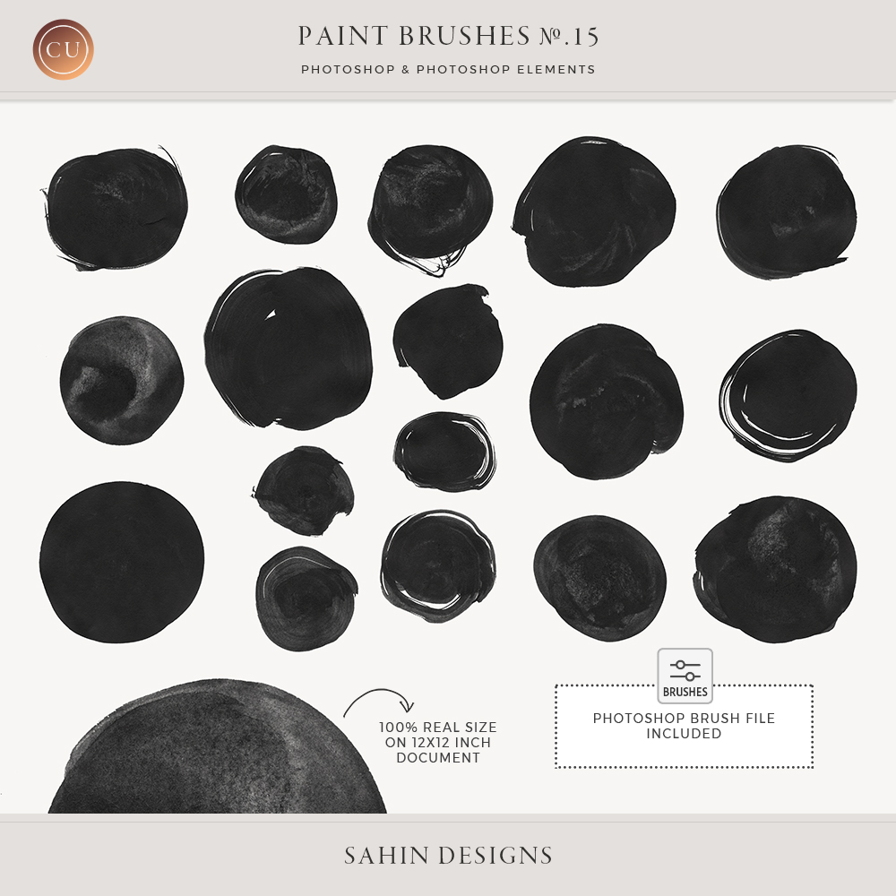 Ink Circles Photoshop Brushes - Sahin Designs - CU Digital Scrapbook