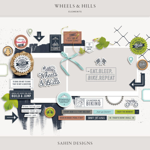 Wheels & Hills Digital Scrapbook Elements - Sahin Designs