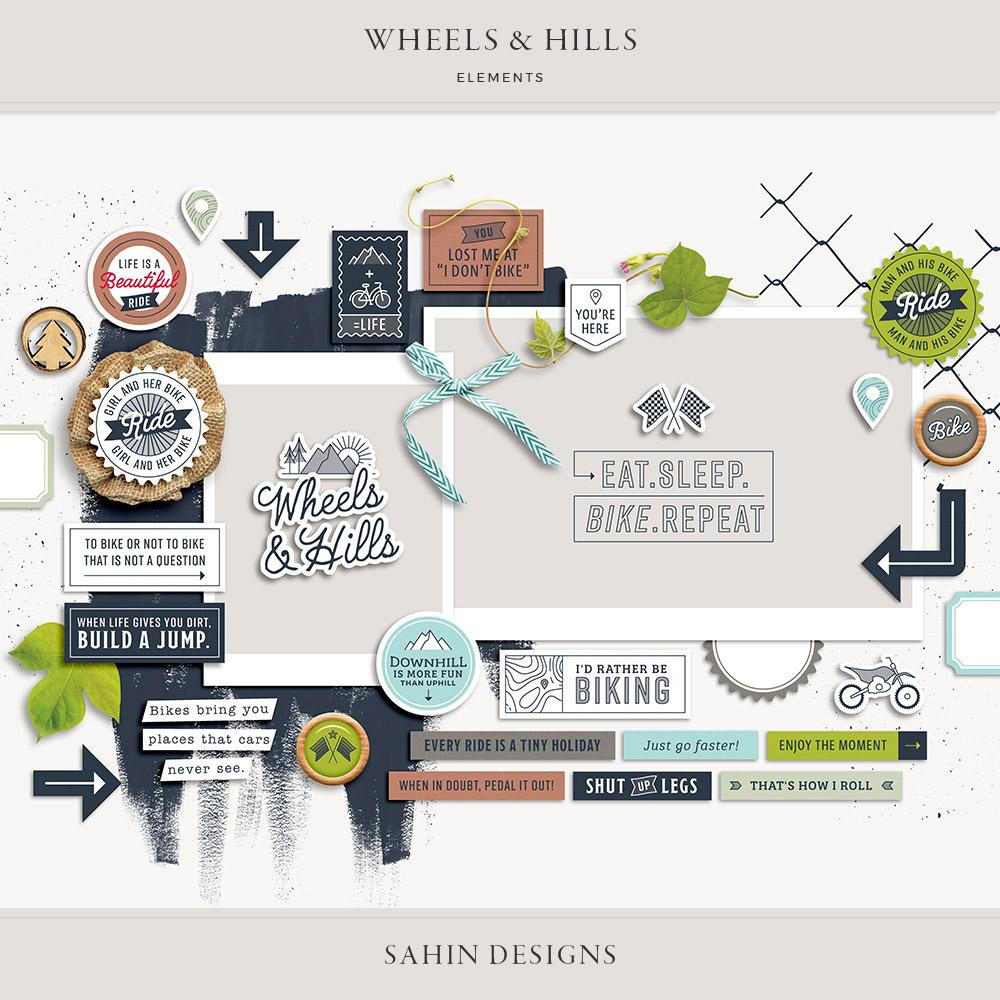 Wheels & Hills Digital Scrapbook Elements - Sahin Designs
