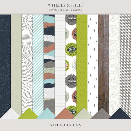 Wheels & Hills Digital Scrapbook Papers - Sahin Designs