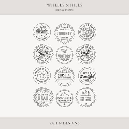 Wheels & Hills Digital Scrapbook Stamps - Sahin Designs