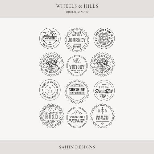 Wheels & Hills Digital Scrapbook Stamps - Sahin Designs