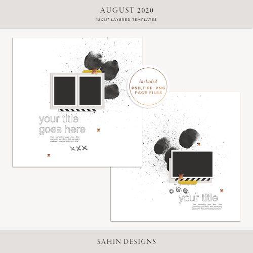 August 2020 Digital Scrapbook Layout Template/Sketch - Sahin Designs