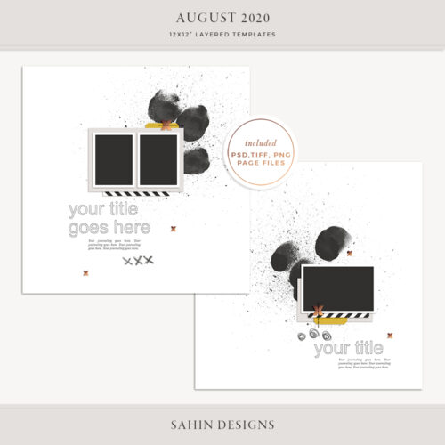 August 2020 Digital Scrapbook Layout Template/Sketch - Sahin Designs