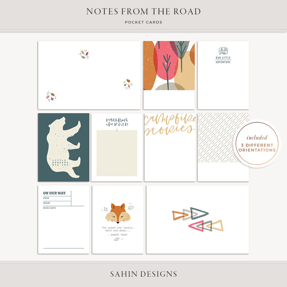 Notes from the Road Printable Pocket Cards - Sahin Designs