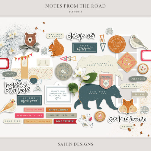 Notes from the Road Digital Scrapbook Elements - Sahin Designs