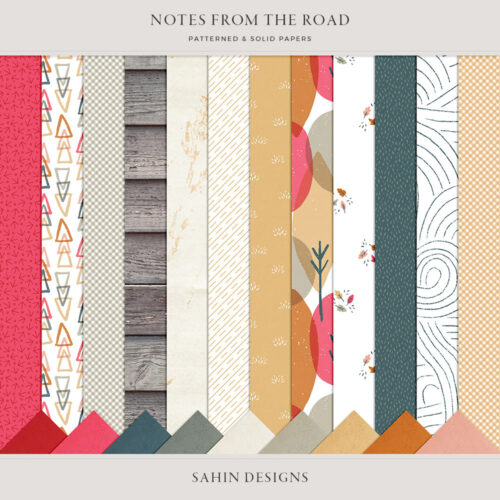 Notes from the Road Digital Scrapbook Papers - Sahin Designs