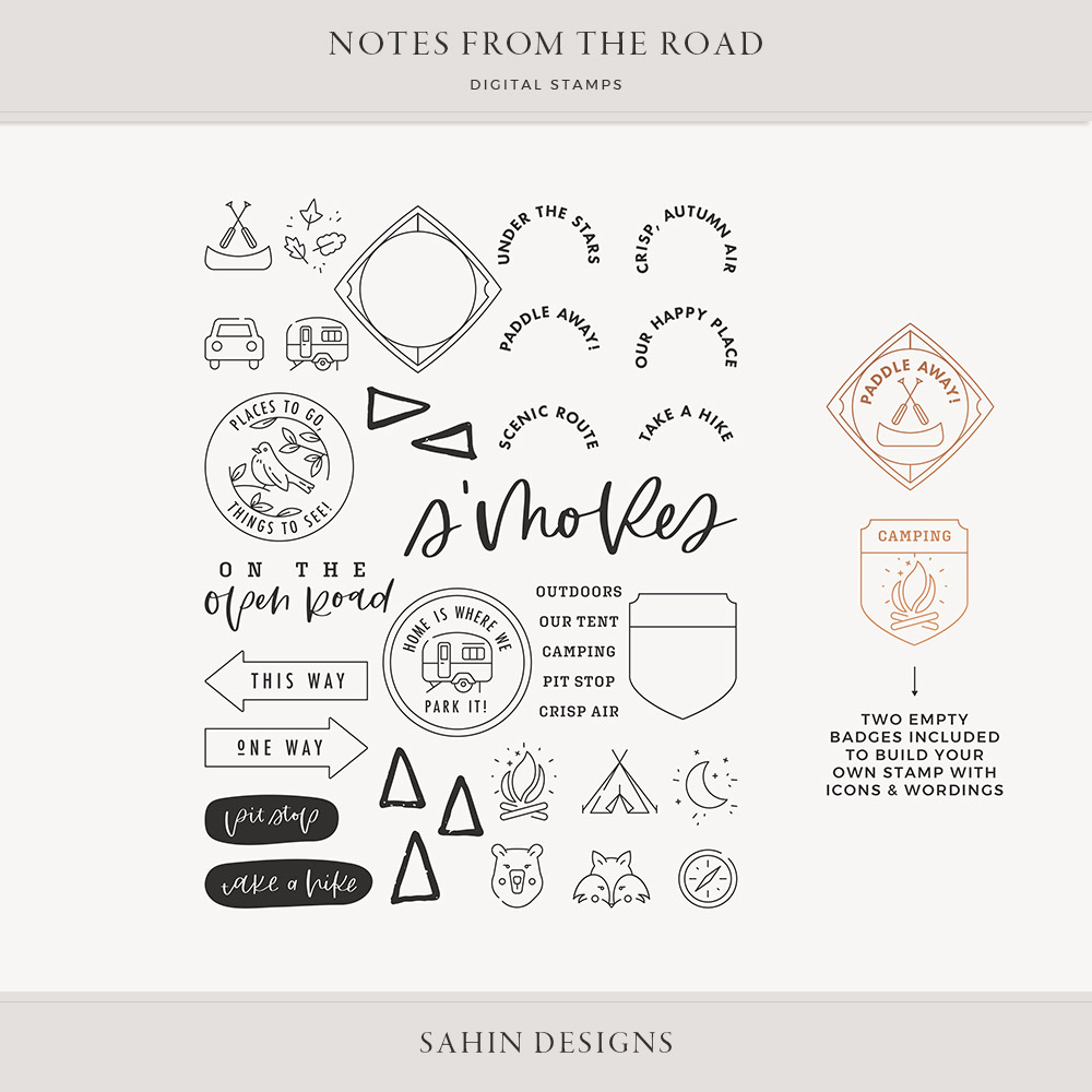 Notes from the Road Digital Scrapbook Stamps - Sahin Designs