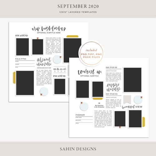 September 2020 Digital Scrapbook Layout Template/Sketch - Sahin Designs