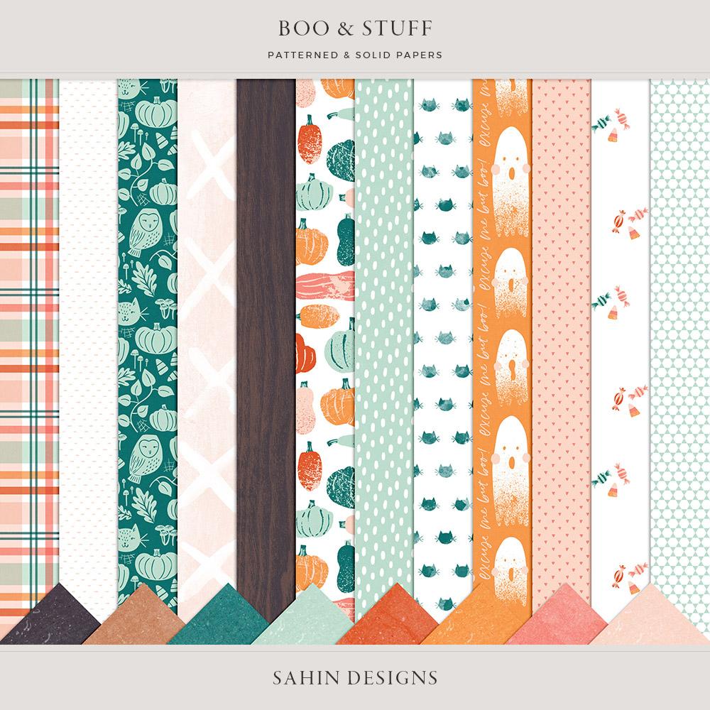 Boo & Stuff Digital Scrapbook Papers - Sahin Designs