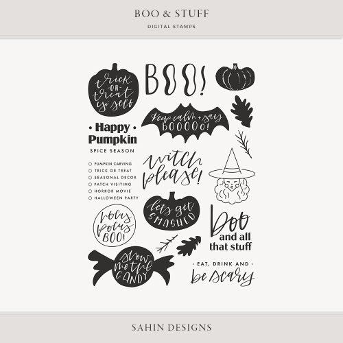 Boo & Stuff Digital Scrapbook Stamps - Sahin Designs
