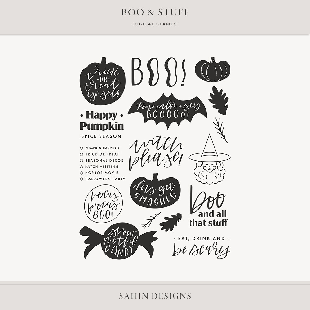 Boo & Stuff Digital Scrapbook Stamps - Sahin Designs