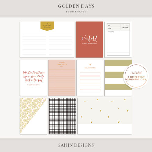 Golden Days Printable Pocket Cards- Sahin Designs