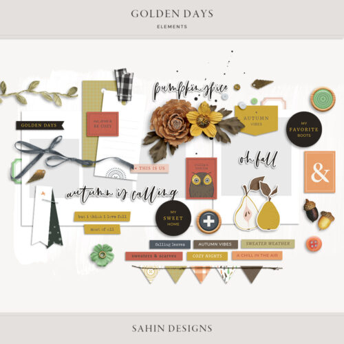 Golden Days Digital Scrapbook Elements - Sahin Designs