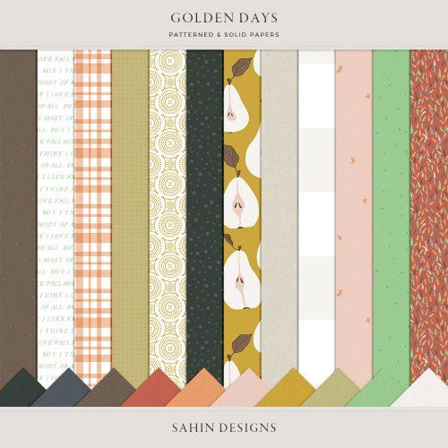 Golden Days Digital Scrapbook Papers - Sahin Designs