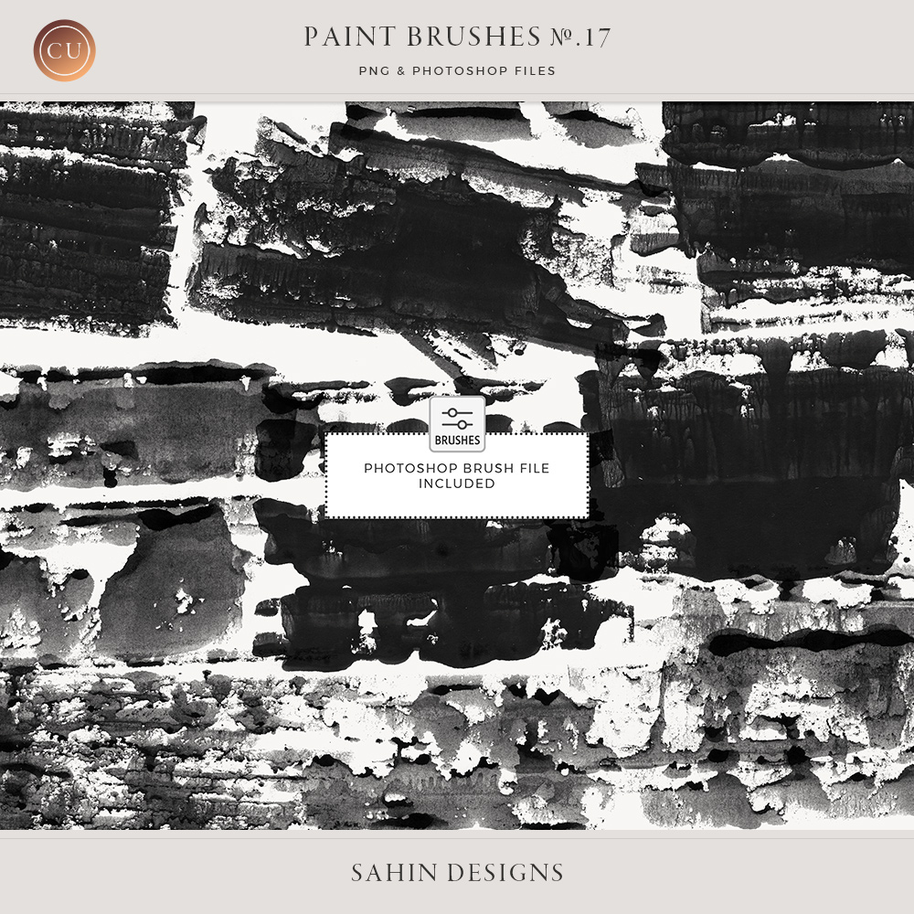 Rolled Paint Photoshop Brushes - Sahin Designs - CU Digital Scrapbook