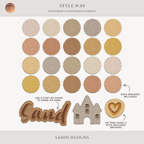 Sand Photoshop Layer Styles - Sahin Designs - CU Digital Scrapbook