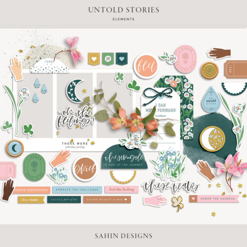 Untold Stories Digital Scrapbook Elements - Sahin Designs