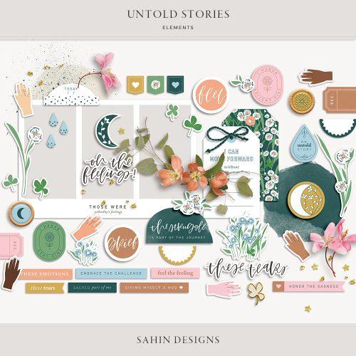 Untold Stories Digital Scrapbook Elements - Sahin Designs