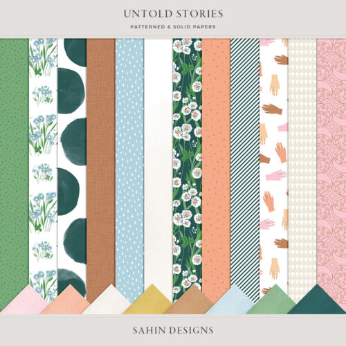 Untold Stories Digital Scrapbook Papers - Sahin Designs