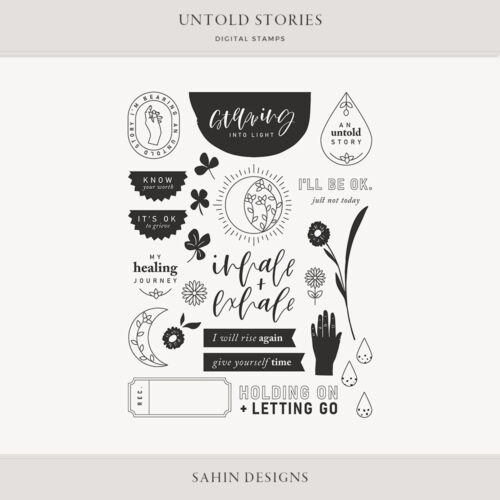 Untold Stories Digital Scrapbook Stamps - Sahin Designs