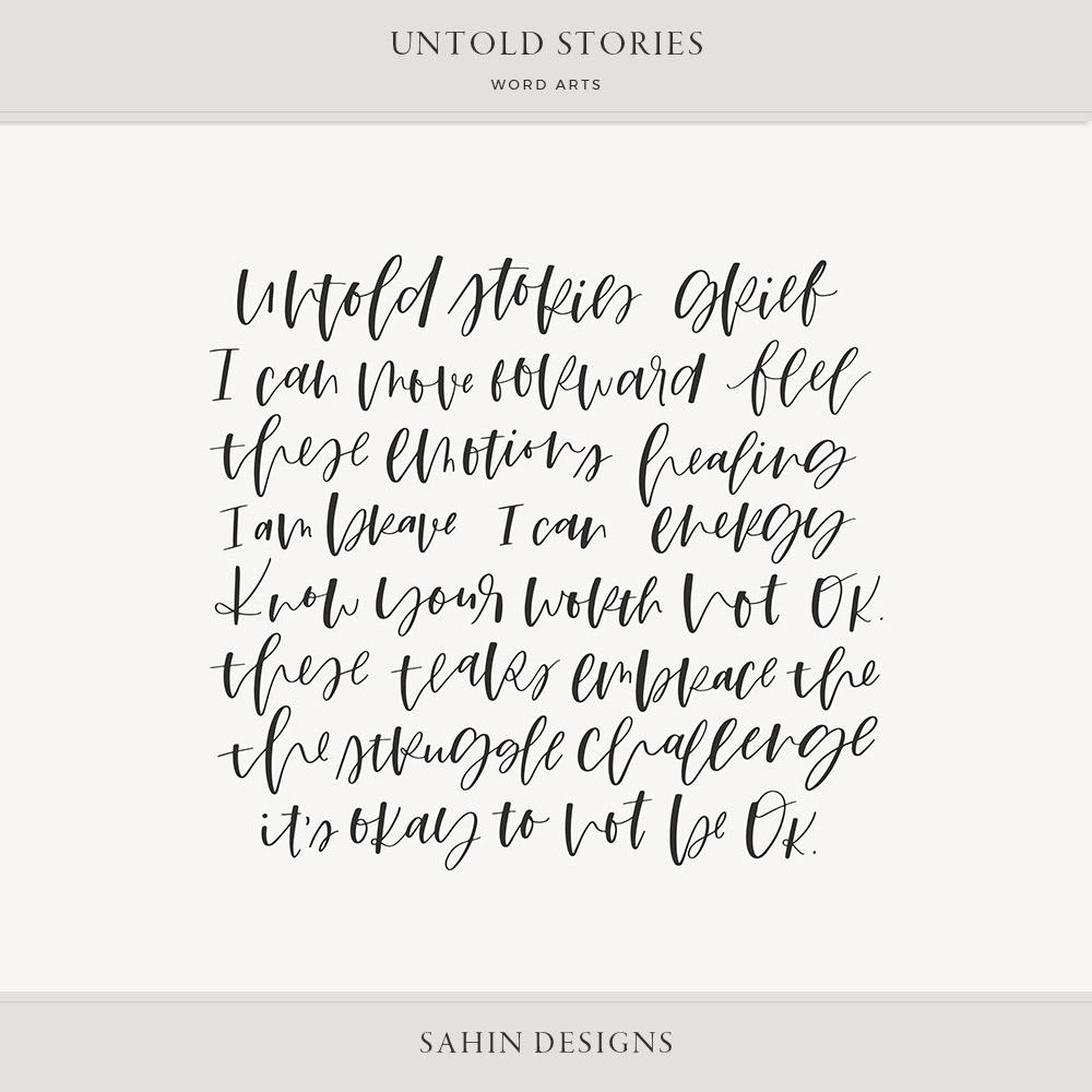 Untold Stories Digital Scrapbook Word Arts - Sahin Designs