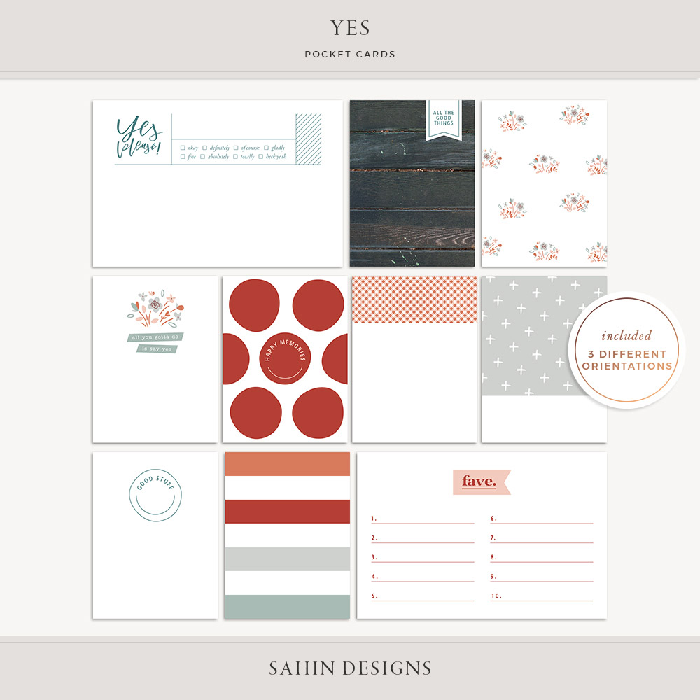 Yes Printable Pocket Cards - Sahin Designs - Free Scrapbooking Download