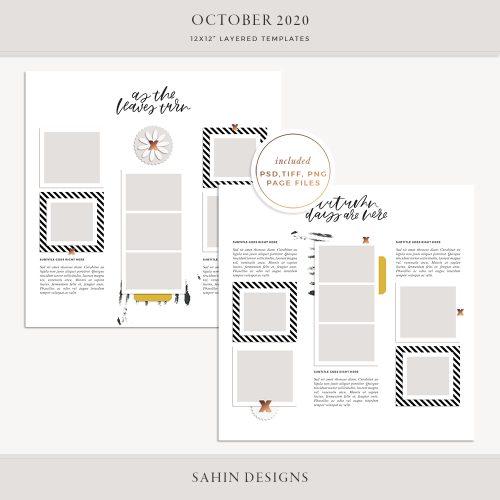 October 2020 Digital Scrapbook Layout Template/Sketch - Sahin Designs