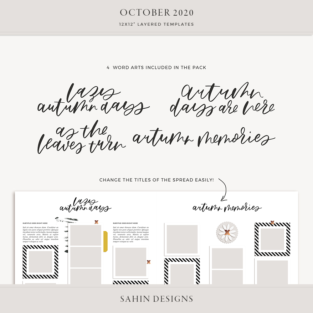 October 2020 Digital Scrapbook Layout Template/Sketch - Sahin Designs