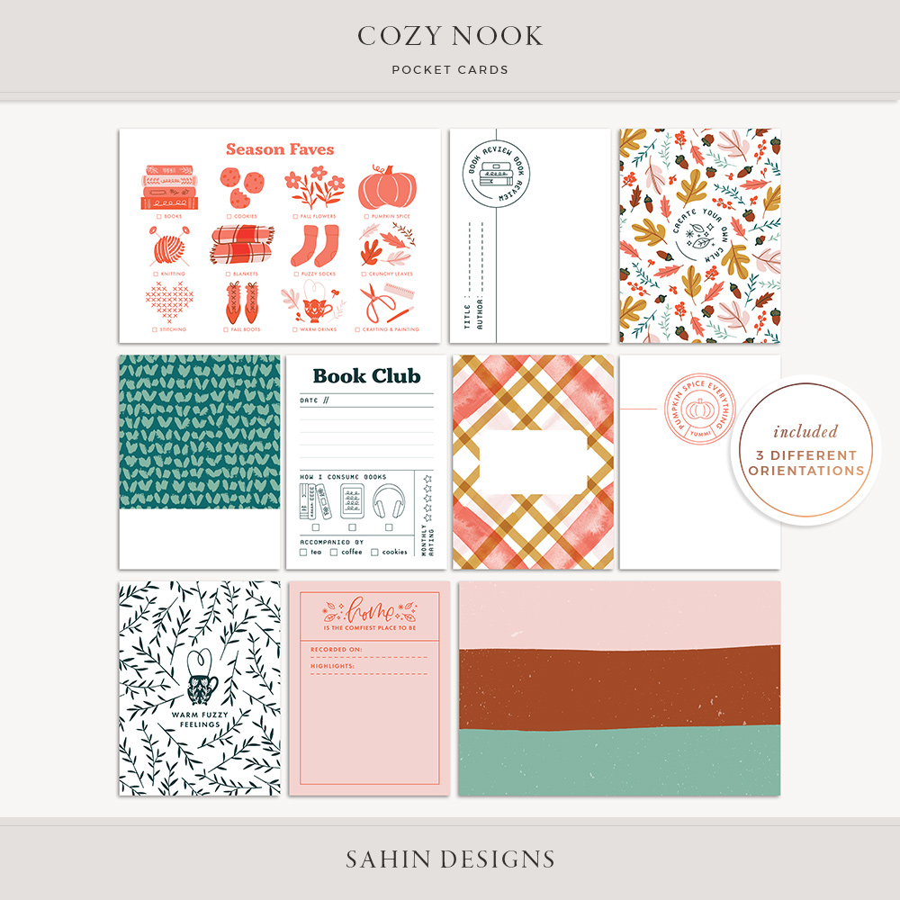Cozy Nook Printable Pocket Cards - Sahin Designs