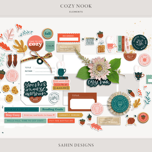 Cozy Nook Digital Scrapbook Elements - Sahin Designs