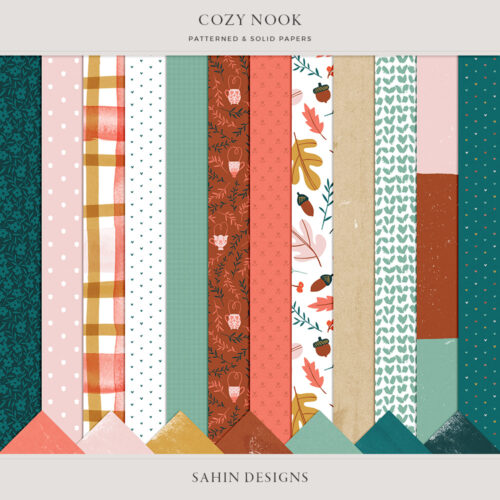 Cozy Nook Digital Scrapbook Papers - Sahin Designs